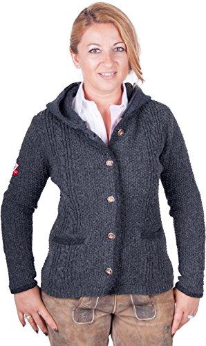 Almwerk Damen Strick Jacke Antonia mit abnehmbarer Kapuze in verschiedenen Farben, Größe Damen:4XL - Größe 48;Farbe:Grau/Anthrazit