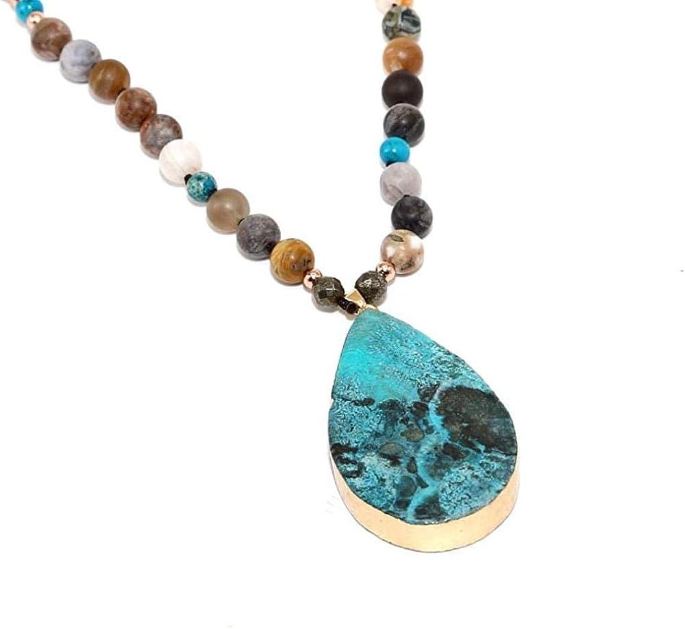 niuziyanfa Co.,ltd Collar océano Collar Colgante de Piedra Natural Abrigo Trenzado Collar Yoga macramé Collar para Hombres Mujeres Collar de energía
