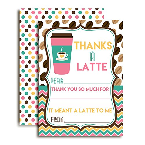 Thanks a Latte Coffee Themed Thank You Notes for Kids Ten 4quot x 55quot Fill In The Blank Cards with 10 White Envelopes by AmandaCreation
