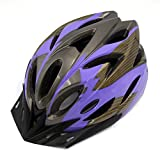 uxcell® Purple Gray 18 Vents Striped Adjustable Road Bike Bicycle Cycling Helmet w Visor