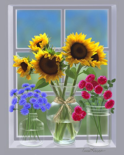 Sunflowers & Cornflowers print 8x10 UNFRAMED - Cottage Garden Wall Vase