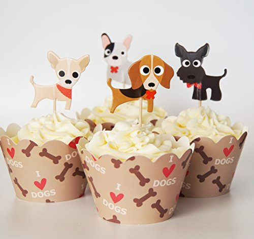 24 Dog Cupcake Toppers Wrappers product image