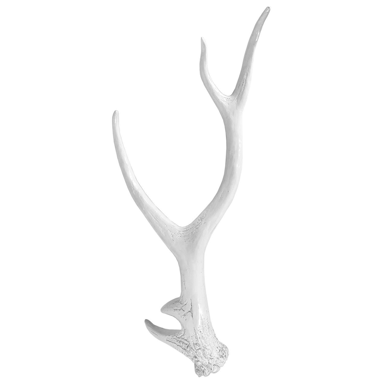 Mojawo Tolles XXL Hirschgeweih Hirschkopf Geweih 10-Ender Wei/ß Optik 48x32x61cm Figur Skulptur Wohndekoration
