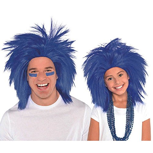 AMSCAN Blue Crazy Wig Halloween Costume Accessories, Blue, One Size ()