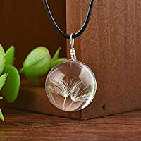 ERAWAN Women Real Dandelion Glass Ball Bottle Pendant Long Leather Chain Necklace Gift EW sakcharn (2#)