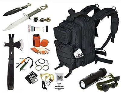 Vas Black Ops Survival Gear Combo, 17ö Bug Out Backpack Survival Hatchet, 15n1 Survival Knife, Sling Shot & Survival Essentials #247