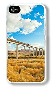 Blue Sky And White Clouds Custom iPhone 4S Case Back Cover, Snap-on Shell Case Polycarbonate PC Plastic Hard Case Transparent