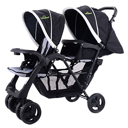 Price comparison product image LordBee Black New Foldable Twin Baby Kids Jogger Pushchair Stroller Strong Construction and Heavy-Duty Steel Frame Lockable Wheels