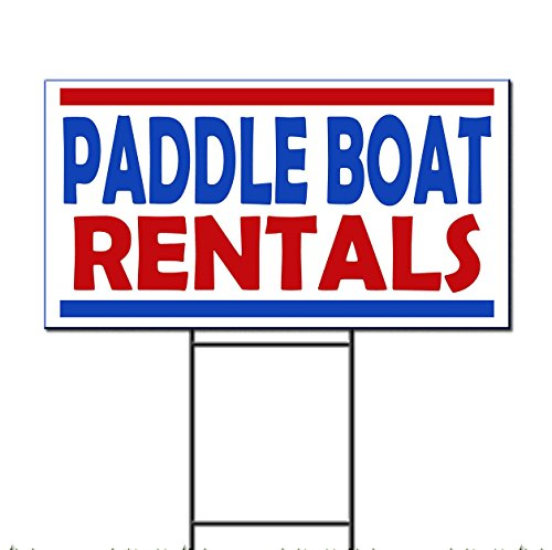 Paddle Boat Rentals Plastic Yard Sign /FREE Stakes 18 x 24 Inches Two Sides Print