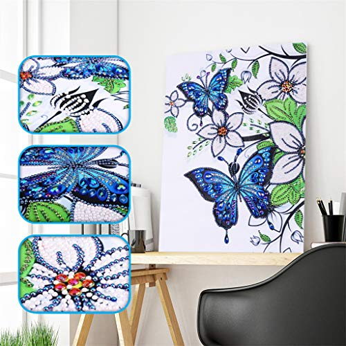 UmbWorld DIY 5D Diamond Painting, Crystal Rhinestone Diamond Embroidery Paintings Pictures Arts Craft by Number Kits for Adults Kids (Butterfly 4)