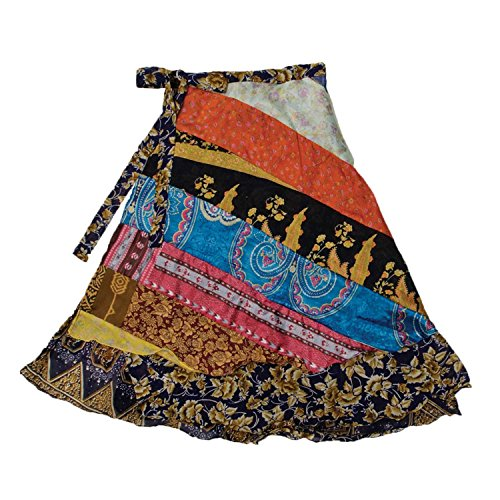 Jedzebel Silk-Blend Reversible Patchwork Sari 3/4 Length Wrap Skirt - DN204