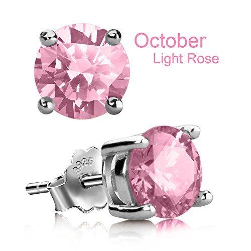 UHIBROS Stud Earrings, Hypoallergenic Silver Ear Stubs Birthstone Round Cubic Zirconia Diamond Earrings (October-Light Rose)