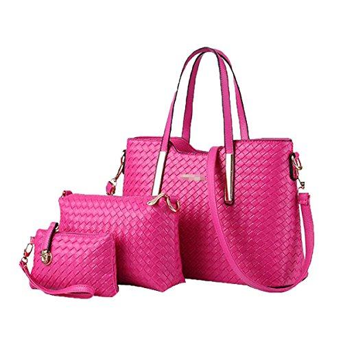 3 Women Bag Piece Handbag Pink Leather Purse Multicolor Bag Pu Weave Shoulder Tote Satchel Zd11grq