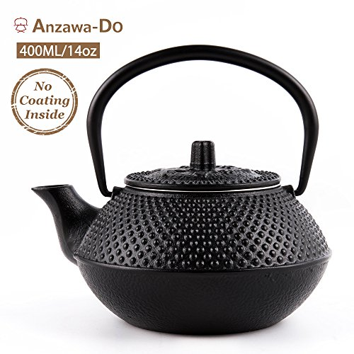 Cast Iron Teapot With Infuser,Best Japanese Small Vintage Teapots Kettle(13oz) (Tetsubin Cast Iron)