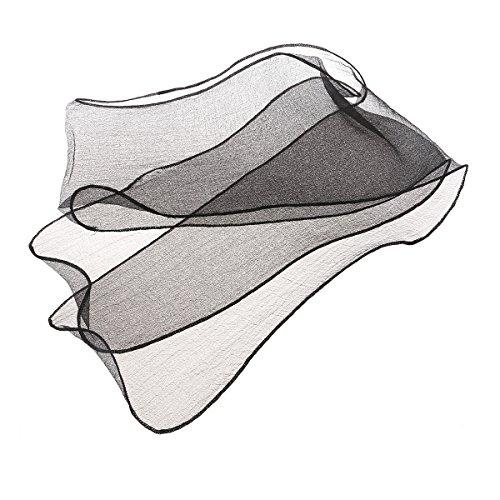 Black Hair Belt (LUOEM Neck Head Scarf Sash Belt Hair Tie Long Skinny Scarf Summer Scarf Organza Scarf)