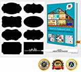 MiniOwls CHALKBOARD LABELS Complete Bundle: 48 Premium Stickers for Jars + Erasable White Smooth Liquid Chalk Marker/ Pen With Chisel/Bullet Tip to Decorate Your Pantry Storage & Office