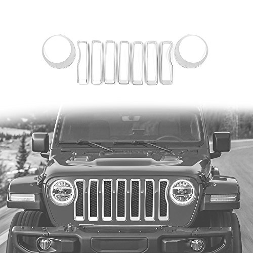 2018 Jeep Wrangler JL Mesh Grille Grill Insert+Headlight Turn Light Cover Trim(Silver)