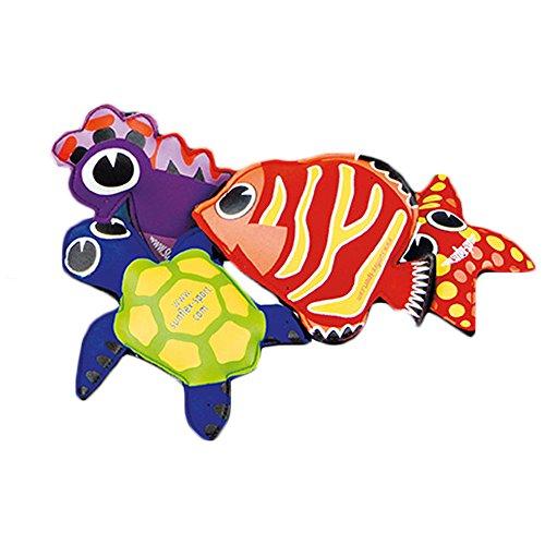 Sunflex Splash Puppies - Floating Neoprene Water Toy Set - 1 Starfish - 1 Turtle - 1 Fish - 1 Seahorse