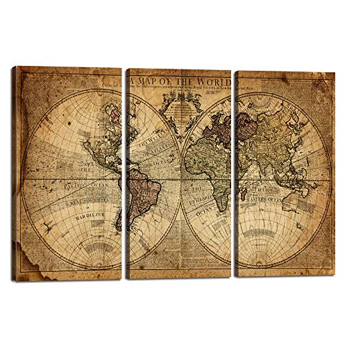 World Map Wall Art Canvas Modern Paintings Globe Maps Home Decor Poster Vintage 3 Pieces Newspaper Background for Living Room Bedroom Decorations with Framed Ready to Hang(24''H x 36''W)