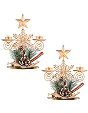 Set of 2 Christmas Candle Holder Centerpiece with Gold Star Topper Pinecones Red Berries Table Centerpiece Iron Metal Pillar Candlestick Tabletop Decorations for Xmas Holiday Wedding Party