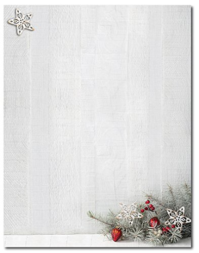 Woodsy Pine Christmas / Holiday Letterhead - 80 Sheets for $<!--$12.95-->
