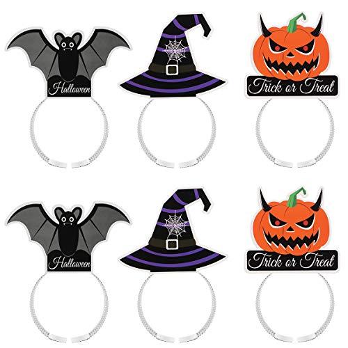 Amosfun Halloween Party Noctilucent Luminous Hair Bands DIY Pumpkin Headband Costume Party Hair Accessories Halloween Decoration Supplies 6PCS]()