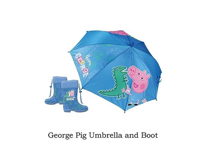 Set de lluvia botas pvc + paraguas George Pig. Botas talla 27