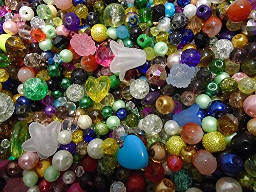 Glass Medium Beads Assorted (Pack of Random MIxed Assorted Beads, approx 50g by Libbyshouse)