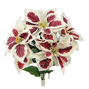 Admired By Nature GPB6858-PEPPERMINT 5 Stems Artificial Christmas Bush, Peppermint Poinsettias