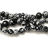 Filo 45+ Nero/Bianco Ossidiana Fiocco Di Neve 8mm Tondo Liscio Perline - (GS1656-3) - Charming Beads