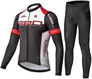 Mysenlan Men's Cycling Long Sleeve Breathable Jersey Set 3D Padded Long Pants Bike Shirt Bicycle Tights Cl