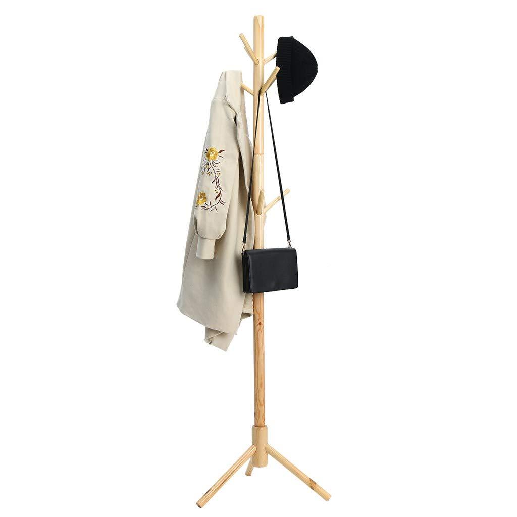 WONdere Solid Wood Coat Rack Hanger Floor Bedroom Multi-function Economy Rack Simple Standing Clothes Rack Home (D)