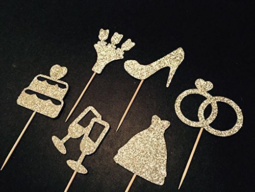 Bridal Shower Cupcake Topper Set, Wedding Cupcake Topper, Ring Topper, Wedding Dress Topper, Bouquet Topper, Macaron Topper, Food Topper