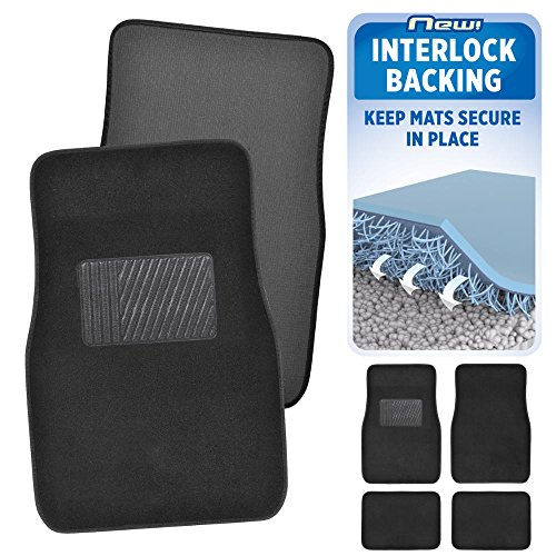 (BDK InterLock Car Floor Mats - Secure No-Slip Technology for Automotive Interiors - 4pc Inter-Locking Carpet (Black))