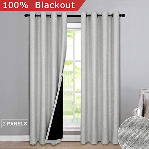 Melodieux 100% Blackout Textured Curtains for Bedroom Living Room - Thermal Insulated Lined Window Drapes, 52 by 63 Inch, Grey (2 Panels)
