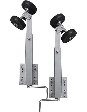 vidaXL Set 2 soportes con rodillos para remolque de embarcaciones, 59 - 84 cm