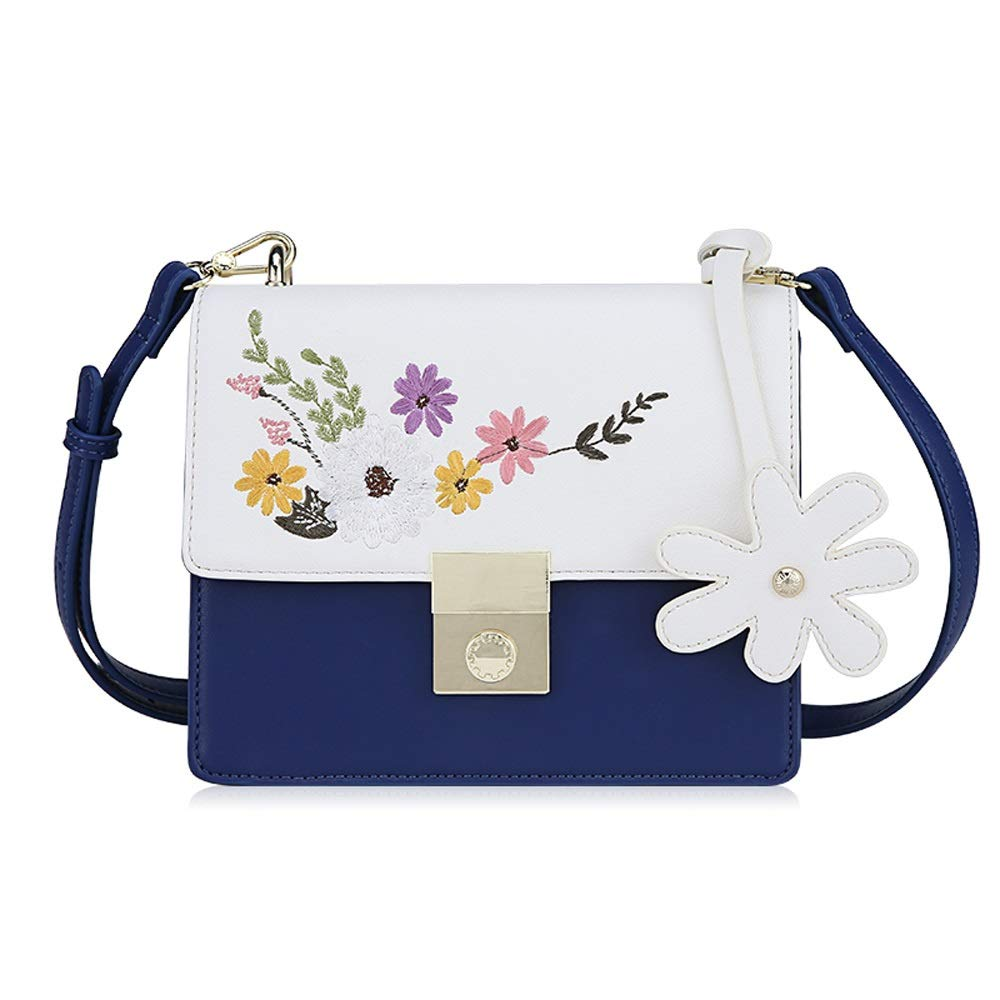 WJ ショルダーバッグ - PU/ポリエステル、小さくて新鮮な刺繍ファッションワンショルダーレディースクロスボディ多彩なコントラストソフトフェイス小型スクエアバッグ - 2色ご用意 /-/ (色 : 青) B07QFQQZ9F 青