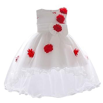 feiXIANG Las niñas se Visten sin Mangas de Encaje de Flores de Encaje Falda Larga Vestido