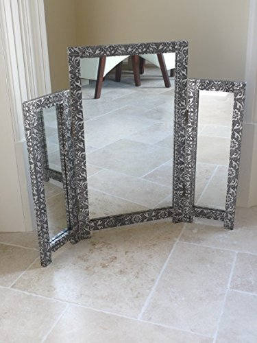 Charmant French Furniture Silver Embossed Triple Tri Fold Dressing Table Mirror