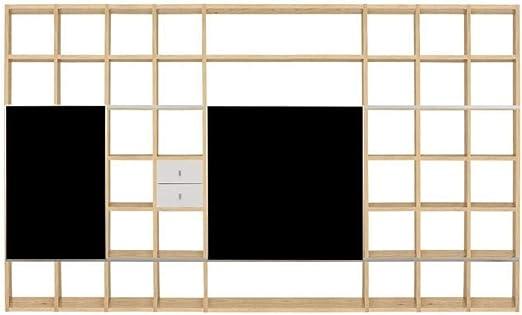 Tema Home Pombal Composición Pared TV Biblioteca Roble con fachadas correderas de Cristal: Amazon.es: Hogar