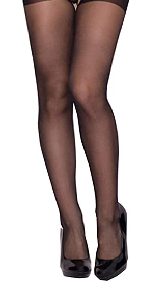 0215839c71d Amazon.com  Women Plus Size Nylon Sheer Sexy Crotchless Pantyhose Open  Crotch Stockings Tights Black  Clothing