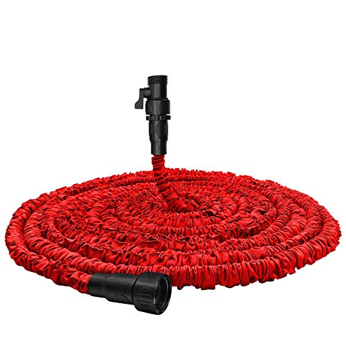 Garden Hose, Water Hose, Upgraded 75ft Flexible Pocket Expandable Garden Hose with 3/4″Fittings, Triple-layer Core, Flexi Expanding Hose useful house gifts for Outdoor Lawn Car Watering Plants Red
