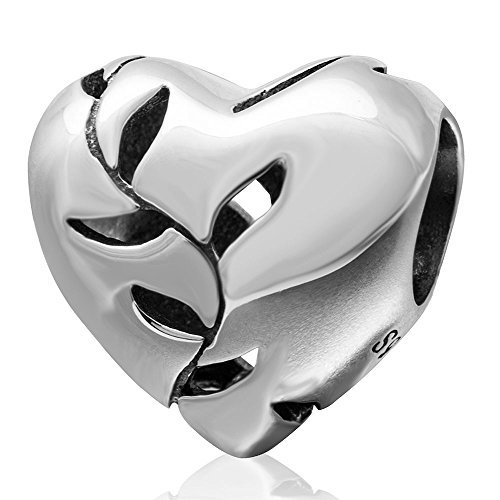 Sterling Charm Silver Glass Leaf (Ollia Jewelry 925 Sterling Silver Bead Love Heart Charm Willow Leaf Charm Tree Bead Glossy Charm Openwork Charms)