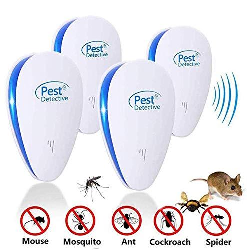 4pza Repellente Ultrasuoni, Plug-in con Luce Notturna di Controllo Interno per Respingere Ragni, Pulci, Zanzare…