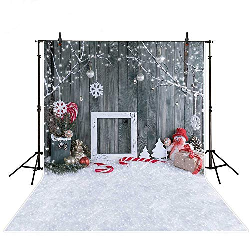 MEHOFOTO Christmas Photo Studio Booth Backgrounds Props Winter Wood Snowflake Christmas Bells Backdrops for Photography 5x7ft ()