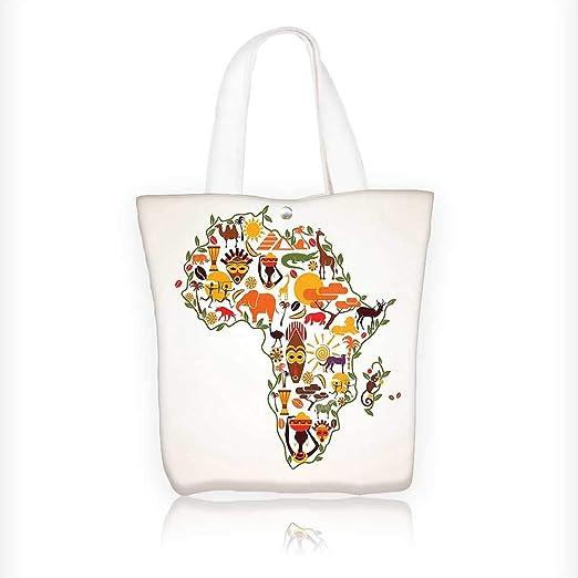 Bolsa de algodón reutilizable con cremallera, elementos africanos, diseño de rayas y formas rectangulares, diseño de bandera de África: Amazon.es: Hogar