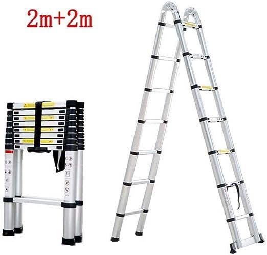 ZDTZ/L Escaleras Escalera Plegable Escalera telescópica de Subida y caída del hogar Escalera de aleación de Aluminio (Size : 2m+2m): Amazon.es: Hogar