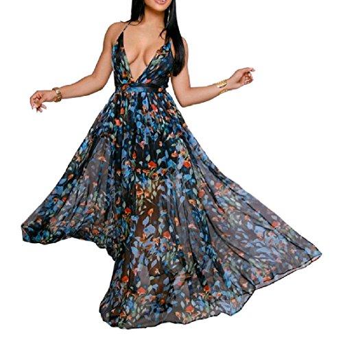 Vestito Coolred Moda Partito Da Senza donne Del Sera Alla Collo Maniche V Da Pattern1 Chiffon Randello Profondo Abito Backless ZBqACZrwx