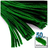 The Crafts Outlet Chenille Stems, Pipe Cleaner, 20-inch (50-cm), 50-pc, Emerald Green