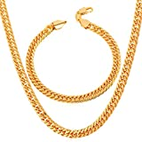 "Men Heavy Punk Thick Chain 6MM-9MM Wide 18K Stamp Gold Tone Franco Curb Link Bracelet Necklace Set (8.3""/18-30"")"